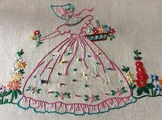 LOVELY VINTAGE LINEN HAND EMBROIDERED CUSHION COVER ~ CRINOLINE LADY.