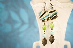 Leaf Earrings Blue Earrings Green Earrings by MusingTreeStudios, $21.99