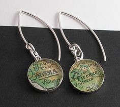 A Trip to Italy.  Modern Vintage Map Dangle Earrings.  Roma and Firenze.  by DLK Designs