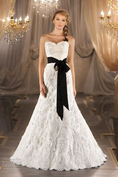 Strapless lace gown, shown with Gigi sash in black.