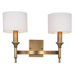 Fairmont Natural Aged Brass 18 Inch Wide Two Light Wall Sconce Maxim Lighting Internationa