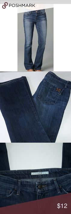 Women's Joes Jeans Medium Wash Bootcut Sz 29 GUC Bootcut medium wash Joe's Jeans. Factory faded. Great condition. Small flaw in hem and inner thigh shown in pic. Price reflected. Waist 16.5 '' Rise 8.5'' Inseam 31'' Joe's Jeans Jeans