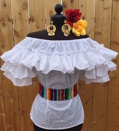 MEXICAN BLOUSE FIESTA,5 DE MAYO OR WEDDING ON/OFF SHOULDER SASH INCLUDED! | Clothing, Shoes & Accessories, Women's Clothing, Tops & Blouses | eBay!
