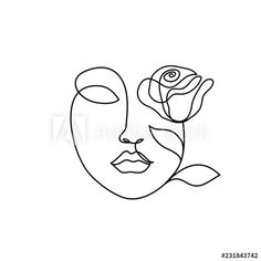 Abstract beauty woman face with rose. Continuous line drawing - Buy this stock illustration and explore similar illustrations at Adobe Stock - Abstract beauty woman face with rose. Continuous line drawing , - Art Sketches, Art Drawings, Face Line Drawing, Drawing Hair, Gesture Drawing, Drawing Faces, Abstract Face Art, Tattoo Abstract, Continuous Line Drawing