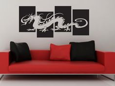 Dragon  4 Panel Wall Decal by WallJems on Etsy, $22.00