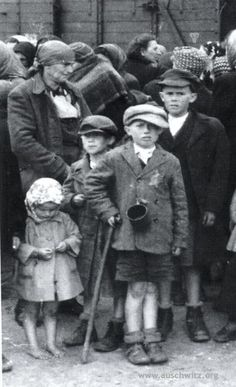 Auschwitz. Family of Slovak Jewess Lili Jacob (her aunt Tauba with her four children) awaiting Selection at the ramp in Birkenau. During the selection all were send to gas chambers. The transport from the ghetto in Beregszasz in Hungary left on May 17, 1944 and arrived on May 27, 1945. (Auschwitz-Birkenau State Museum Archives)