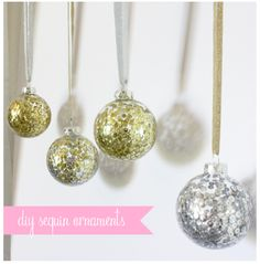 Super easy! Just pour water into the glass ornament, swirl it around, and then pour it out! Add sequins in the color(s) of your choice and shake around. Pour out the excess. Cap the ornament and as the water dries/evaporates the sequins will be permanently fixed to the side. Beautiful!