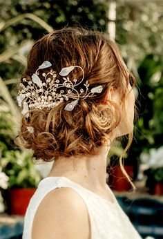 CARISSA - Calla Lily spray hair comb with crystals by HBW UK