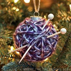 Super Cute Yarn Ball Ornament | AllFreeKnitting.com
