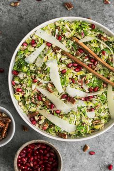 Shaved Brussels Sprout Salad with Manchego and Pomegranate