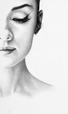 Audrey Hepburn drawing, art, sketches. Profile drawing