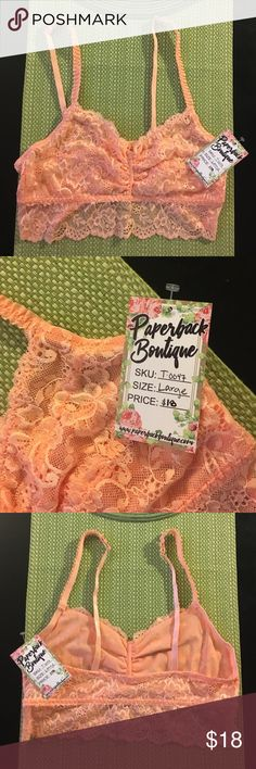 Coral Bralette Never worn, beautiful lace, perfect as a cover over your favorite strapless bra :)lining only. 50% Cotton 50% Polyester. Very lovely addition to Bra collection. Shop The Trends Intimates & Sleepwear Bandeaus