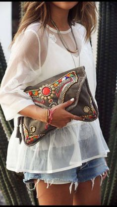 Antik Batik beaded clutch.