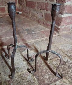 Primitive Early Late 18th-early 19thC. Wrought Iron Candlesticks