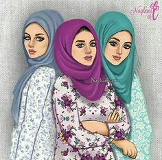 Image about اصّدًقًاء in Girly_m by Amira ALazaz Best Friends Cartoon, Friend Cartoon, Three Best Friends, Girly M, Best Friend Drawings, Girly Drawings, Sarra Art, Hijab Drawing, Hijab Cartoon