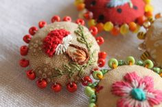 ♒ Enchanting Embroidery ♒ embroidered  and beaded buttons