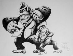 Donkey Kong and Diddy by DannyNicholas on DeviantArt Cool Tattoos, Tatoos, Tattoo Ideas, Tattoo Designs, Diddy Kong, Interesting Tattoos, Gaming Tattoo, Got Game, Mario And Luigi