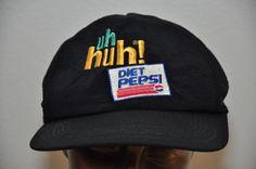 VINTAGE 90's ADVERTISING ADJUSTABLE DIET PEPS ColaI Uh Huh! Black  #BaseballCap