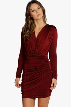 da3b6db257339 Click here to find out about the Mara Slinky Wrap Long Sleeve Bodycon Dress  from Boohoo