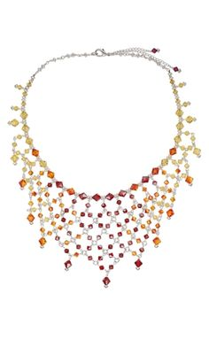 """It's Party Time! Design Idea 987Y """"Swarovski Party Necklace"""" by Designer Virginie Rolland. Fire Mountain Gems and Beads 2008 Beading Contest - Finalist.  #jewelrymaking #jewelrydesign"""