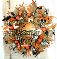 Basketball Sport Faux Burlap Jute Ruffle Deco Mesh Wreath by AQuaintHaberdashery on Etsy