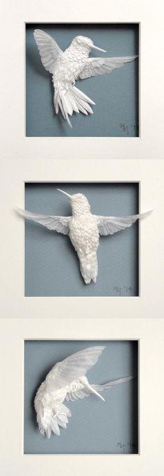 hummingbird paper sculptures - by Cheong-ah Hwang