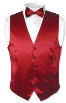 Biagio Men's Solid DARK RED SILK Dress Vest Bow Tie Set for Suit or Tuxedo