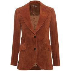 Miu Miu Suede Blazer ($1,314) ❤ liked on Polyvore featuring outerwear, jackets, blazers, coats, coats & jackets, avana, tailored blazer, suede jacket, brown jacket and miu miu