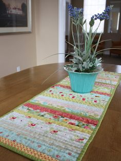One pin I can actually claim that I followed and made! Thank you to Diary of a Quilter - a quilt blog: Table Runner Tutorial