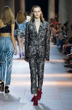 Roberto Cavalli Spring Summer 2016 SS16- Blue and grey printed tuxedo suit with leon motifs