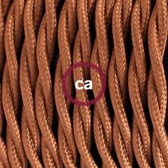 """Twisted Electric Cable coverd by """"silk effect"""" fabric, Solid Whiskey TM22"""