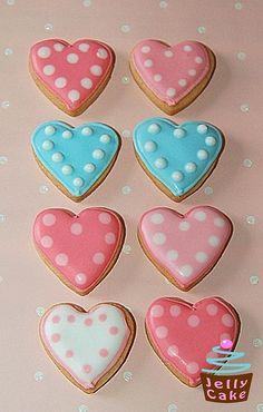 Dotty Mini Heart Iced Cookies