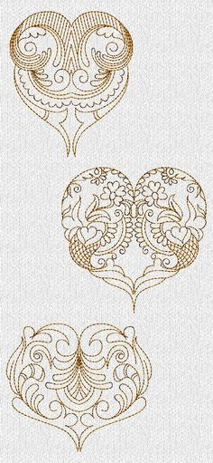 INSTANT DOWNLOAD Filigree Valentines Hearts by embroiderygirl
