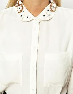 ASOS Shirt With Floral Embellished Collar