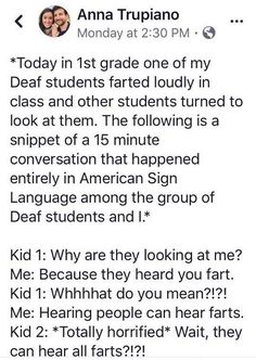Farting Deaf Student Shocked by Bombshell Revelation - School Funny - School Funny meme - - This teacher is doing the lords work. The post Farting Deaf Student Shocked by Bombshell Revelation appeared first on Gag Dad. Fart Humor, Funny Texts, Funny Jokes, Deaf Jokes, Funny Drunk, Stupid Memes, Fail Blog, The Lord, Messages