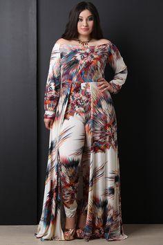 Abstract Burst Print Bardot Jumpsuit Maxi Dress - The Diva Boudoir Plus Size Maxi Dresses, Plus Size Outfits, Trendy Plus Size Clothing, Bardot, Stretch Fabric, Kimono Top, Jumpsuit, Abstract, Long Sleeve