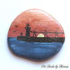 South Haven Michigan Lighthouse at Sunset Hand Painted on a Natural Beach Rock Stone Original Artwork