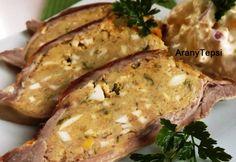 Töltött dagadó Andi konyhájából Bagel, Baked Potato, French Toast, Pork, Potatoes, Bread, Chicken, Baking, Breakfast