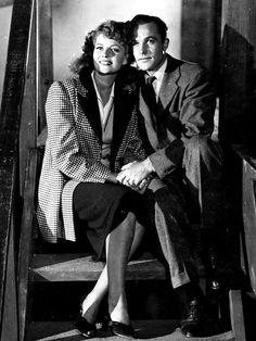Rita Hayworth and Gene Kelly, 1944. the movie they did together was Cover Girl. I always thought they were Hollywoods finest dancing couple! But i guess i am pretty Alone with this opinion.