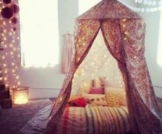 Love the colors in this room. Canopies are always gorgeous for any bedroom #anthropologie #PinToWin