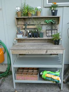 baby changing table made into a potter s bench, gardening, painted furniture, repurposing upcycling, Potting bench Old Baby Cribs, Old Cribs, Funky Junk Interiors, Repurposed Furniture, Diy Furniture, Painted Furniture, Children Furniture, Backyard Furniture, Furniture Projects