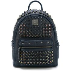 MCM Stud-Embellished  Small Backpack ($2,290) ❤ liked on Polyvore featuring bags, backpacks, blue, leather knapsack, studded backpack, real leather backpack, mcm bags and blue bag