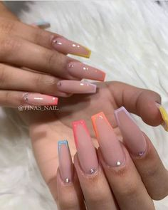 In seek out some nail designs and some ideas for your nails? Here is our listing of must-try coffin acrylic nails for stylish women. Tina's Nails, Glow Nails, Coffin Nails Matte, Summer Acrylic Nails, Best Acrylic Nails, Acrylic Nail Designs Coffin, Acrylic Toes, Nail Swag, Nagellack Design