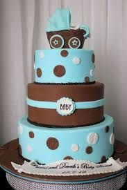 blue and brown baby shower cakes - Google Search