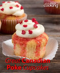 Looking for the perfect dessert to serve at your Canada Day party? The Great Canadian Poke Cupcakes are the red-and-white delight you're after. Tap or click photo for this recipe. Cupcake Recipes, Cupcake Cakes, Dessert Recipes, Kwazy Cupcakes, Pretty Cupcakes, Mini Cakes, Baking Recipes, Vegan Recipes, Quiche Muffins