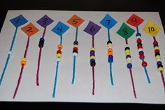 Simple Math Game for Preschool and Kindergarten. String the beads on the kite.