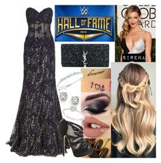 Hall Of Fame Ceremony by samantha-vance on Polyvore featuring Jovani, Jimmy Choo, Yves Saint Laurent, Saks Fifth Avenue, Swarovski and Allurez