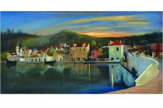 View of Trau in the sunset - Tivadar Kosztka Csontváry Sunset, Painters, Inspiration, Design, Sunsets, Biblical Inspiration, Inspirational