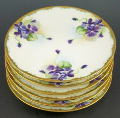 "Set of Six Antique Jaeger & Co. Hand Painted 7 3/4"" Porcelain Plates, Violet Nosegays with Heavy Gold Rim, Artist Signed, ca. 1900"