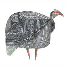 Guinea fowl from forthcoming animal parade book Bird Illustration, Graphic Design Illustration, Mythical Birds, Guinea Fowl, Bird Quilt, Pets For Sale, Collage Artists, Collages, Galo